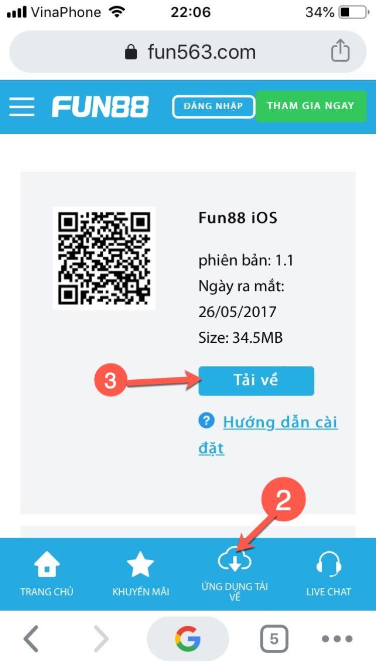 cách tải Fun88 cho Iphone